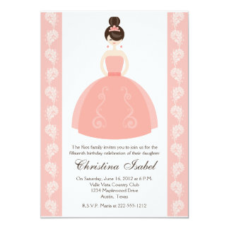 "Pink Quince Dress Brunette Quinceanera Invitations 5"" X 7"" Invitation Card"