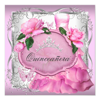 Pink Quinceanera 15th Party Rose Tiara 13 Cm X 13 Cm Square Invitation Card