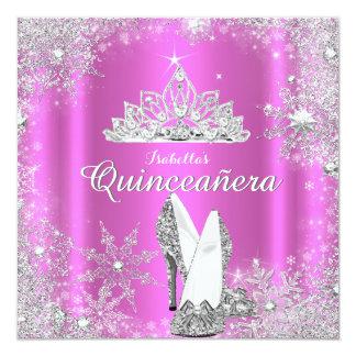 Pink Quinceanera 15th Silver Tiara Birthday Party 13 Cm X 13 Cm Square Invitation Card