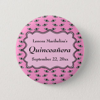 Pink Quinceanera Design with Butterflies Pattern 6 Cm Round Badge