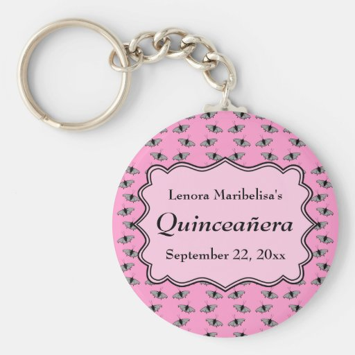 Pink Quinceanera Design with Butterflies Pattern Key Chain