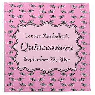 Pink Quinceanera Design with Butterflies Pattern Napkin