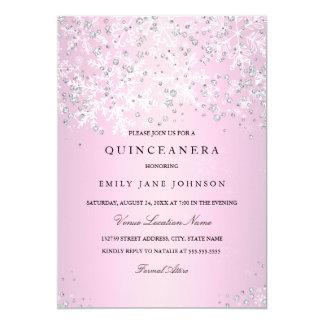 Pink Quinceanera Winter Wonderland Snowflakes Card