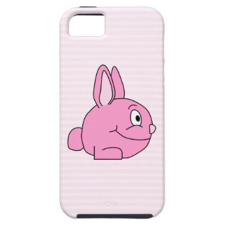 Pink Rabbit with Light Pink Stripe Background. iPhone 5 Cover