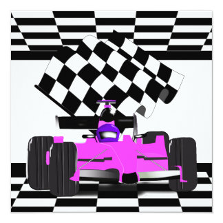 Pink Race Car with Checkered Flag (request) 13 Cm X 13 Cm Square Invitation Card