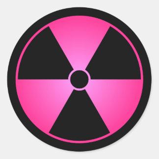 Pink Radiation Symbol Round Sticker