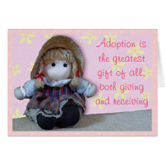 Pink Rag Doll Adoption Day Congratulations Card