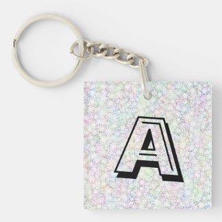 Pink Rainbow and White Star Cluster Kawaii Girl Double-Sided Square Acrylic Key Ring