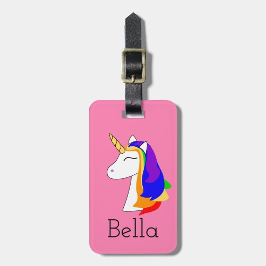 Pink rainbow hair unicorn yellow luggage tag