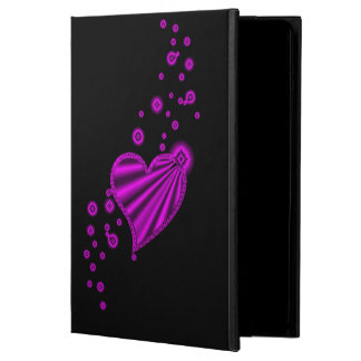 Pink Rainbow Heart with Stars on black Cover For iPad Air