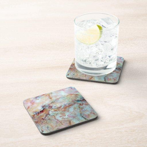 Pink Rainbow Marble Stone Finish Drink Coasters Zazzle