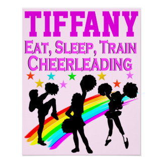PINK RAINBOW PERSONALIZED CHEERLEADING POSTER
