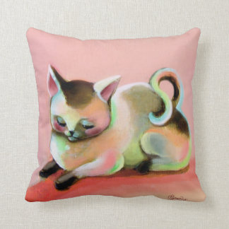Pink Rainbow Sherbert Kitty Kitsch Cute Pillow