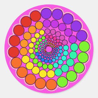 Pink - Rainbow Spectrum Mandala Classic Round Sticker