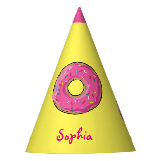 Pink Rainbow Sprinkle Donut Custom Name Party Hat