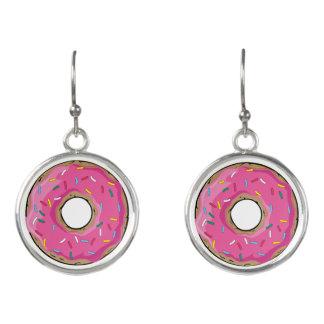 Pink Rainbow Sprinkle Donut Earrings
