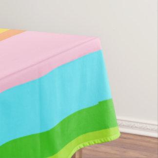"Pink Rainbow Stripes Cotton 52""x70"" Tablecloth"