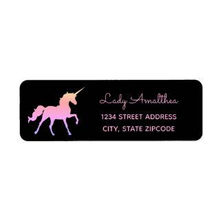 Pink Rainbow Unicorn Address Label