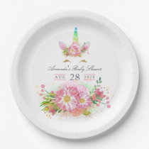Pink Rainbow Unicorn Girl Baby Shower Paper Plate