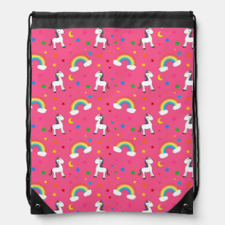 Pink rainbow unicorn hearts stars pattern drawstring bag
