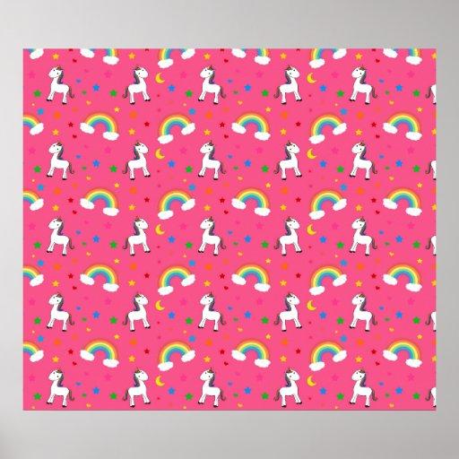 Pink rainbow unicorn hearts stars pattern posters