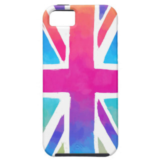 Pink Rainbow Watercolor British Flag Tough iPhone 5 Case