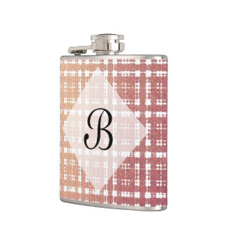 Pink Raspberry Blush Modern Plaid Netted Ombra Hip Flasks