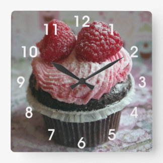 Pink Raspberry Cupcake Square Wall Clock
