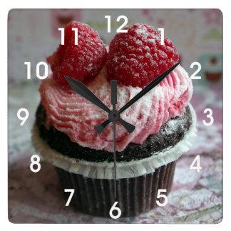 Pink Raspberry Cupcake Wallclock
