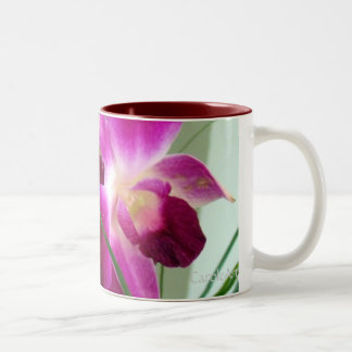Pink Raspberry Orchids Two-Tone Coffee Mug