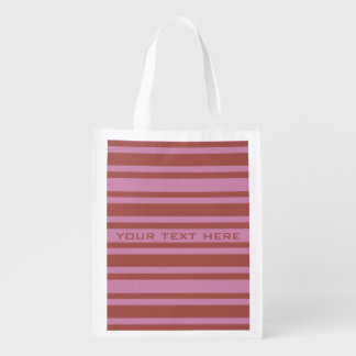 Pink / Raspberry Stripes custom reusable bag