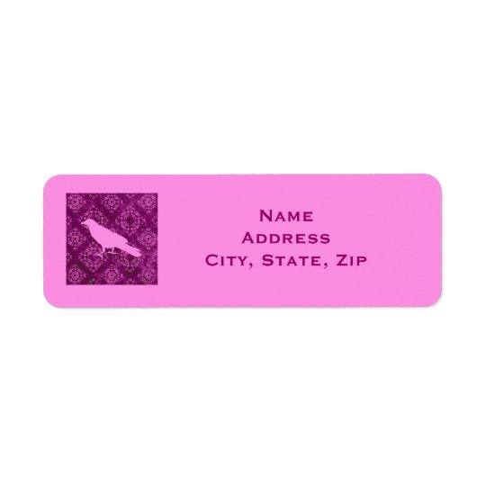 Pink raven on pink and purple damask personalised return address label