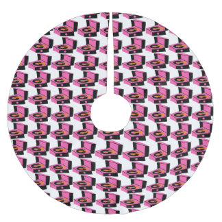 Pink Record Player Houndstooth X-mas Tree Skirt