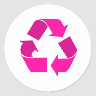 pink recycle symbol classic round sticker