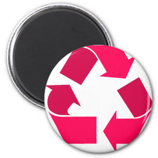 pink recycle symbol 6 cm round magnet