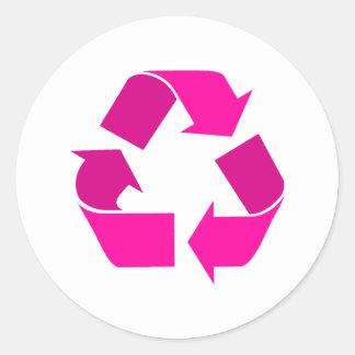 pink recycle symbol round sticker