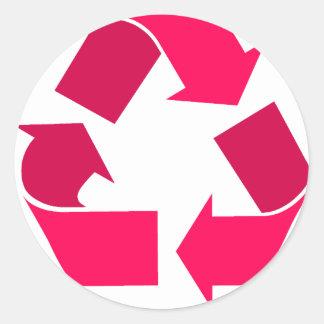 pink recycle symbol sticker