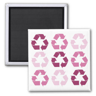 Pink Recycle Symbols Square Magnet