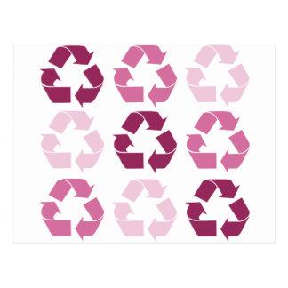 Pink Recycle Symbols Postcard