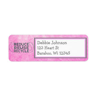 Pink Recycling Return Address Sticker Return Address Label