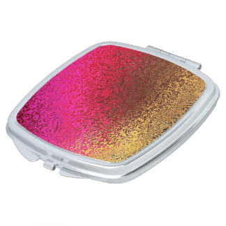Pink Red And Gold Pattern Compact Mirrors