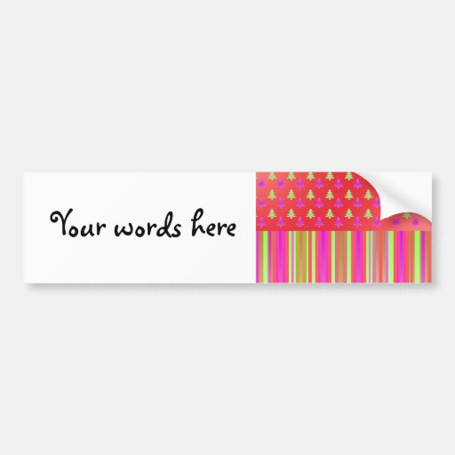 Pink, red and green christmas trees with stripes p bumper stickers