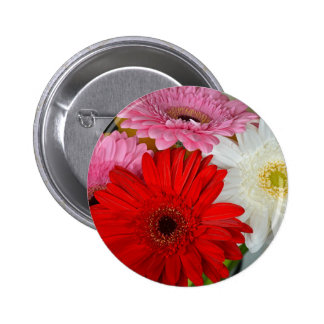 Pink, red and white gerber flowers 6 cm round badge