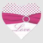 Pink, Red, and White Hearts - Heart Shaped Sticker