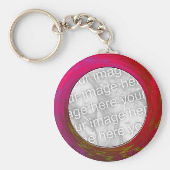 pink red basic round button key ring