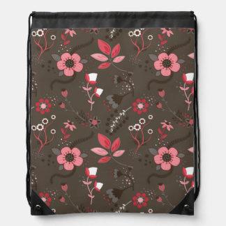 Pink Red Brown Floral Pattern Backpack