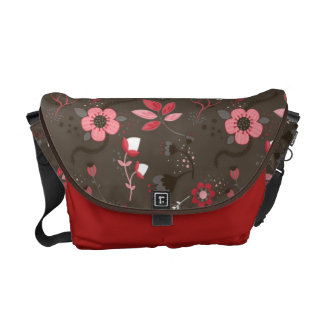 Pink Red Brown Floral Pattern Commuter Bag