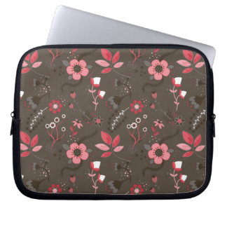 Pink Red Brown Floral Pattern Laptop Sleeve