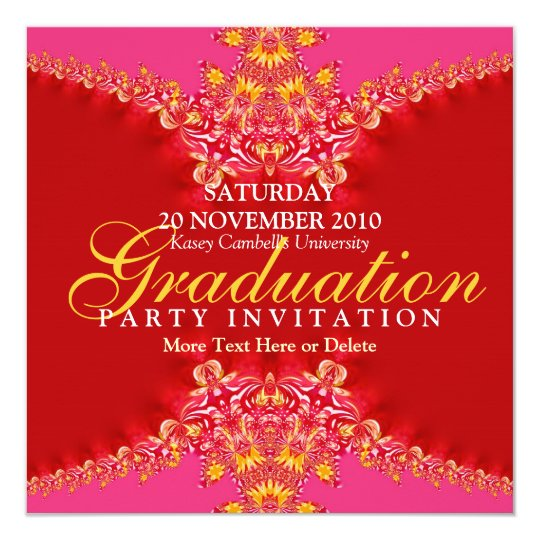 Pink & Red Digi Lace Graduation Invitation