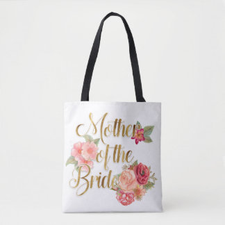 Pink Red Floral  Mother of the Bride Tote Bag